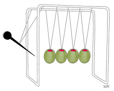 Drawing - Olives And Toothpick On Newtons Cradle by Seth Fleishman