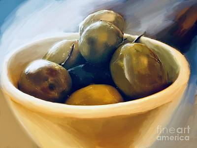 Mixed Media - Bowl Of Olives  by Susan Garren