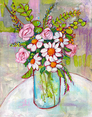 Floral Still Life Painting - Olivia Daisy Flowers by Blenda Studio