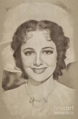 Musicians Drawings - Olivia De Havilan, Vintage Actress by John Springfield by Esoterica Art Agency