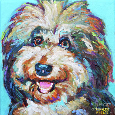 Painting - Olivia, The Aussiedoodle by Robert Phelps