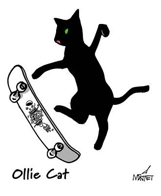 Digital Art - Ollie Cat by Mike Martinet