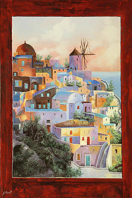 Paintings - oltre la finestra il mulino a Santorini by Guido Borelli