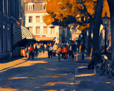 Holland Painting - Olv Plein Maastricht In Autumn by Nop Briex