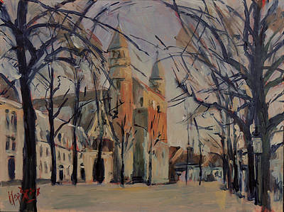 Painting - Olv Square On A Sunny Winter Afternoon by Nop Briex