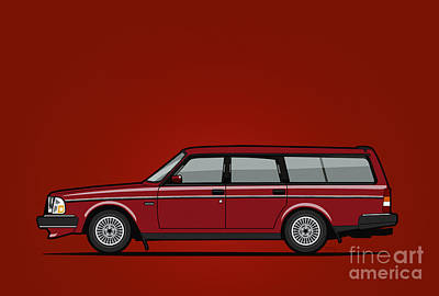 Volvo 245 Brick Wagon 200 Series Red Original by Monkey Crisis On Mars