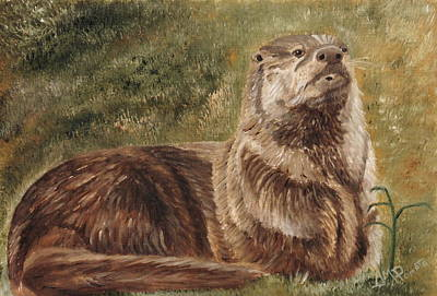 Otter Painting - Olympia River Otter by Angeles M Pomata