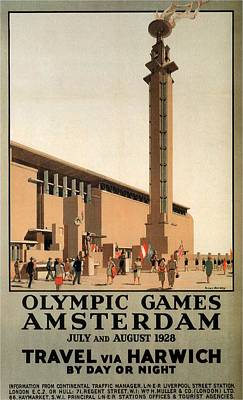 Royalty-Free and Rights-Managed Images - Olympic Games, Amsterdam, Netherlands - Travel Via Harwich - Retro travel Poster - Vintage Poster by Studio Grafiikka