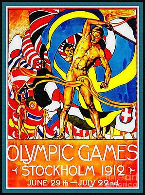 Painting - Olympic Games Poster 1912 Sweden by Ian Gledhill