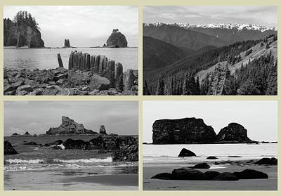 Pacific Ocean Mixed Media - Olympic National Park Cream Collage by Dan Sproul