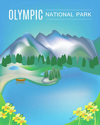 Olympic National Park Digital Art - Olympic National Park Vertical Scene by Karen Young