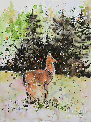 Olympic National Park Painting - Black-tailed Deer In The Hurricane Ridge by Zaira Dzhaubaeva