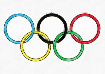 South Korea Digital Art - Olympic Rings Pencil by Edward Fielding