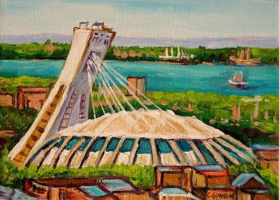 Montreal Neighborhoods Painting - Olympic Stadium  Montreal by Carole Spandau