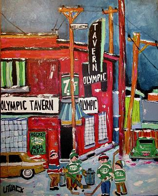 Seven-up Sign Painting - Olympic Tavern Wellington Point St. Charles  by Michael Litvack