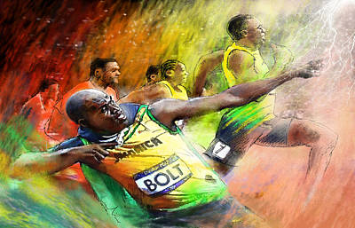 Jamaica Mixed Media - Olympics 100 M Gold Medal Usain Bolt by Miki De Goodaboom