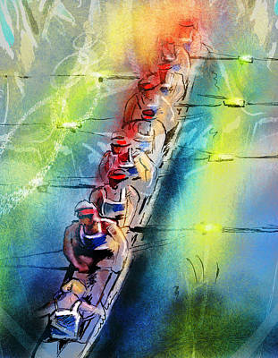 Water Sports Art Painting - Olympics Rowing 02 by Miki De Goodaboom