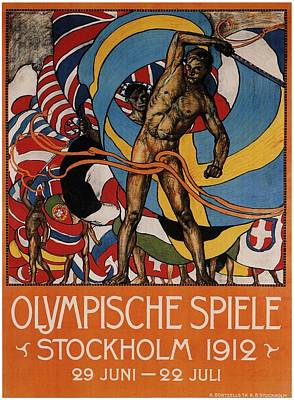 Royalty-Free and Rights-Managed Images - Olympische Spiele 1912 - Stockholm, Sweden - Retro travel Poster - Vintage Poster by Studio Grafiikka