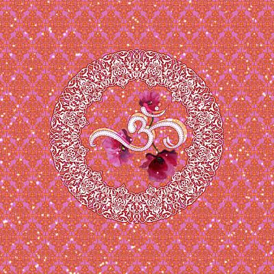 Digital Art - Om And Poppy Flowers by ReadyForYoga Online-Shop