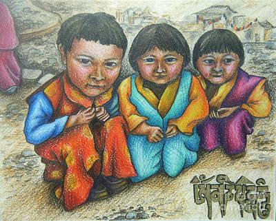 Tibetan Buddhism Drawing - Om Mani Padme Hum by Ana Corrales