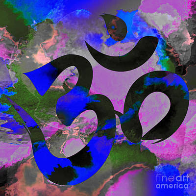 Digital Art - Om Symbol, Black, Blue And Purple by Lita Kelley