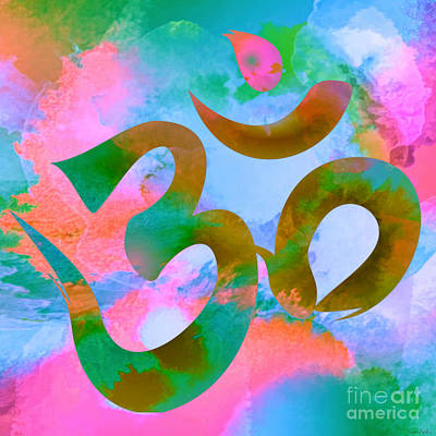 Digital Art - Om Symbol, Pastel Pink,blue And Green by Lita Kelley