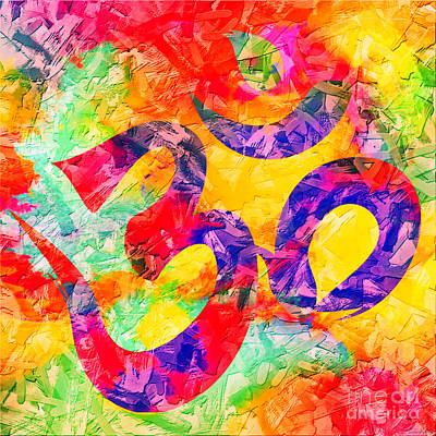 Digital Art - Om Symbol Rainbow 3d Texture by Lita Kelley