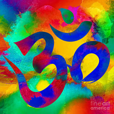 Digital Art - Om Symbol, Rainbow by Lita Kelley