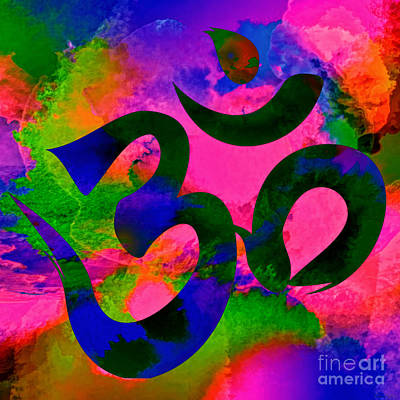 Digital Art - Om Symbol, Rainbow, Ver2 by Lita Kelley