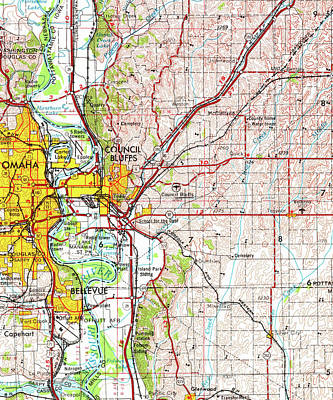 Old Map Digital Art - Omaha 1954 Old Map by Pablo Franchi