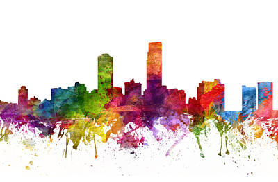 Rainbow Colors Digital Art - Omaha Cityscape 06 by Aged Pixel