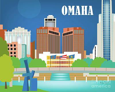 Omaha Nebraska Horizontal Skyline Art Print by Karen Young