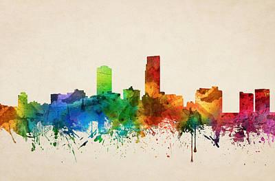 Omaha Nebraska Skyline 05 Art Print by Aged Pixel