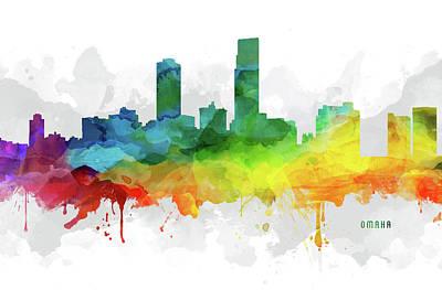 Omaha Digital Art - Omaha Skyline Mmr-usneom05 by Aged Pixel