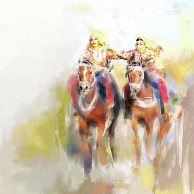 Painting - Omani Horse Riders 669 1 by Mawra Tahreem