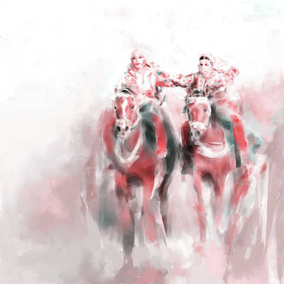 Race Horse Painting - Omani Horse Riders 669 3 by Mawra Tahreem