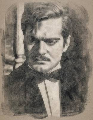 Musicians Drawings Rights Managed Images - Omar Sharif by JS Royalty-Free Image by John Springfield