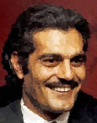 Painting - Omar Sharif Portrait by Samuel Majcen