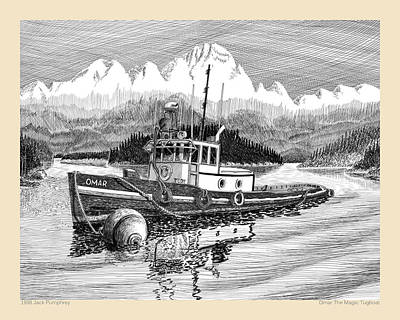 Drawing - Omar The Magic Tugboat by Jack Pumphrey