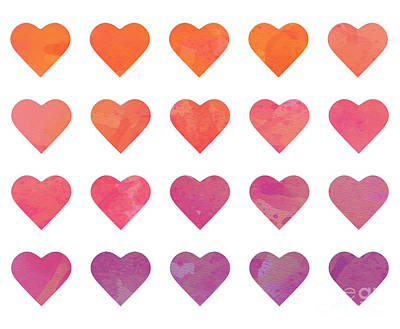 Digital Art - Ombre Hearts by Whitney Morton