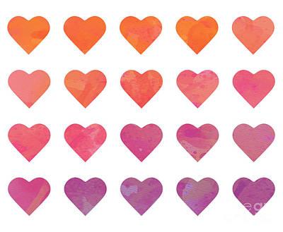 Digital Art - Ombre Hearts by Whitney Morton