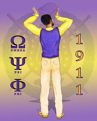 Omega Psi Phi Drawing - Omega Psi Phi by BFly Designs