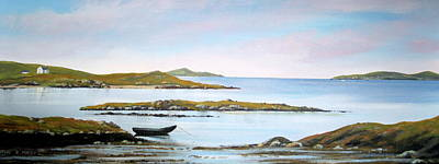 Currach Painting - Omey Island View by Cathal O malley