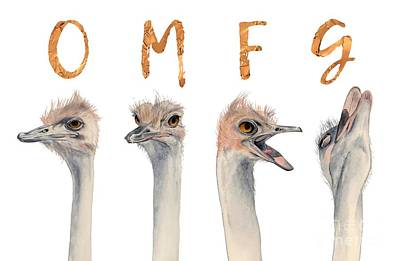 Ostrich Mixed Media - Omfg Ostirches by NamiBear