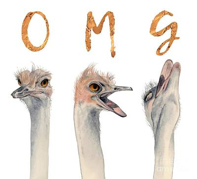 Ostrich Mixed Media - Omg Ostriches by NamiBear