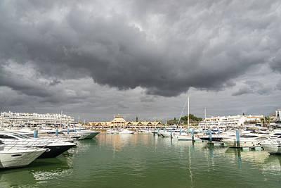 Photograph - Ominous Clouds - Vilamoura Marina Algarve Portugal by Georgia Mizuleva