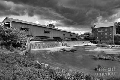 Photograph - Ominous Skies Over Bridgeton Black And White by Adam Jewell