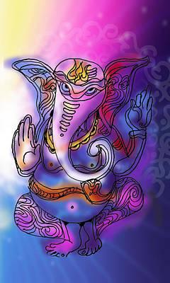 Painting - Omkareshvar Ganesha by Guruji Aruneshvar Paris Art Curator Katrin Suter