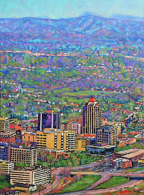 Roanoke Painting - On A Clear Day - A View From Mill Mountain by Bonnie Mason