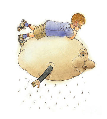 Rain Drawing - On A Cloud by Kestutis Kasparavicius